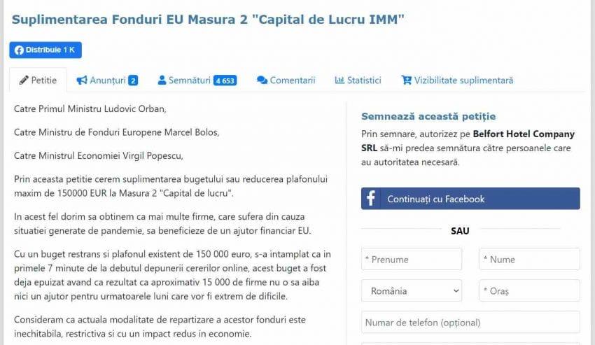 """Petitia """"Suplimentarea Fonduri EU pentru IMM"""" a atins 4400 de semnaturi in 2 zile si creste in continuare"""